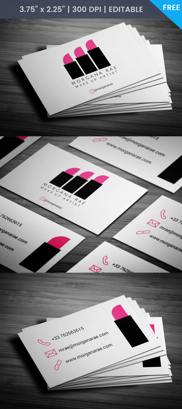 Free Hair And Makeup Business Card Template