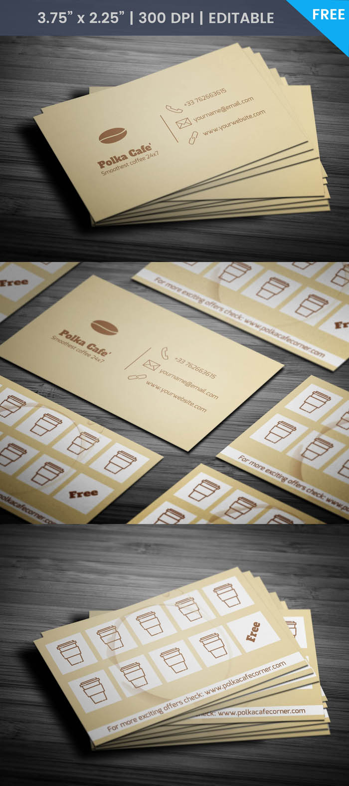 Free Cafe With Membership Business Card Template