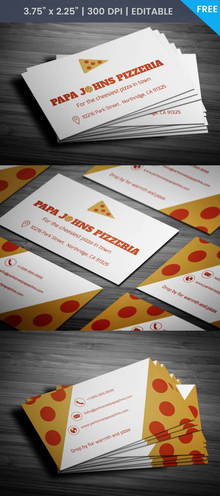 Free Pizza Business Card Template