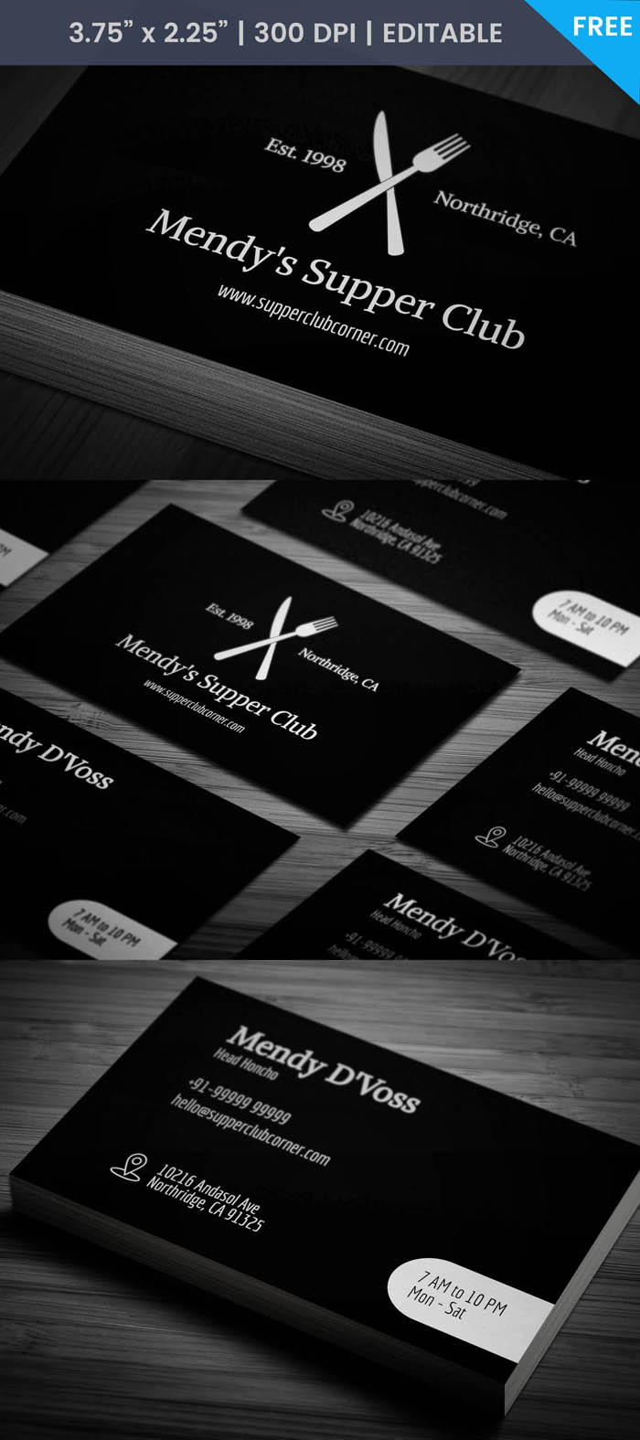 Free Artistic Restaurant Business Card Template