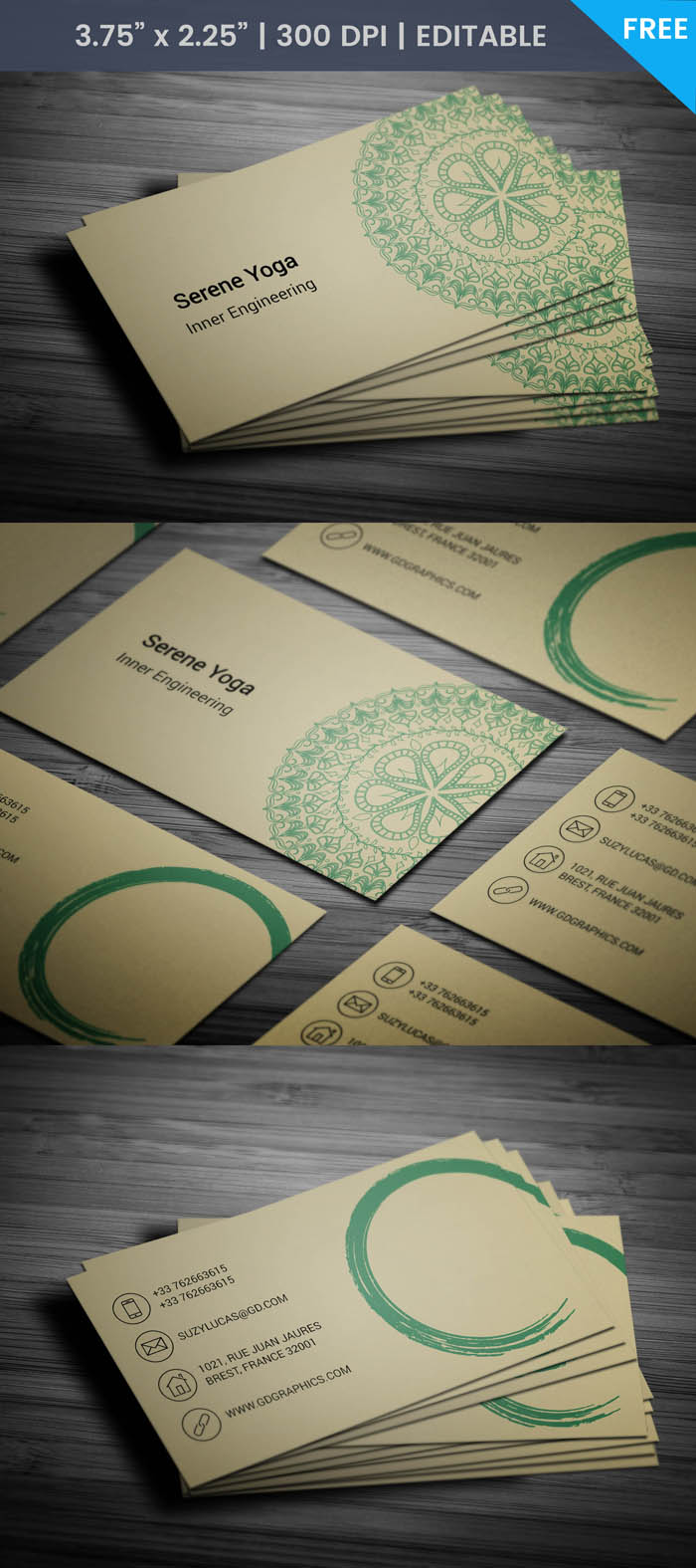 Free Lotus Flower Business Card Template