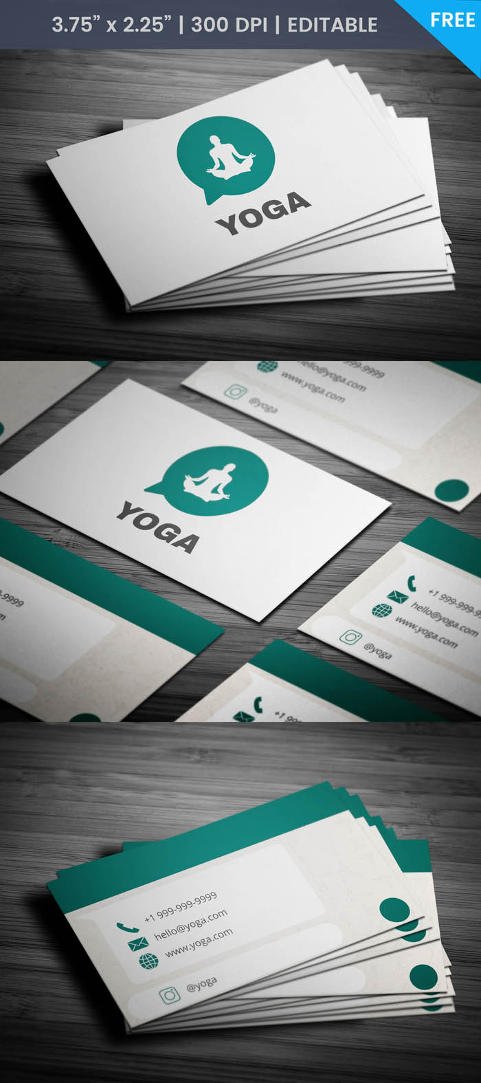 Free Whatsapp Themed Yoga Business Card Template
