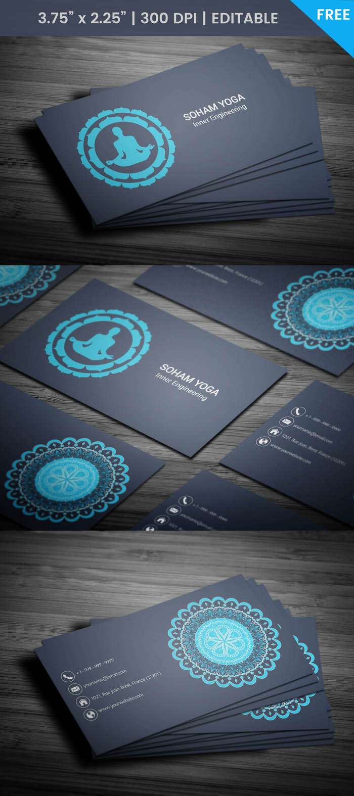 Free Yoga Class Business Card Template