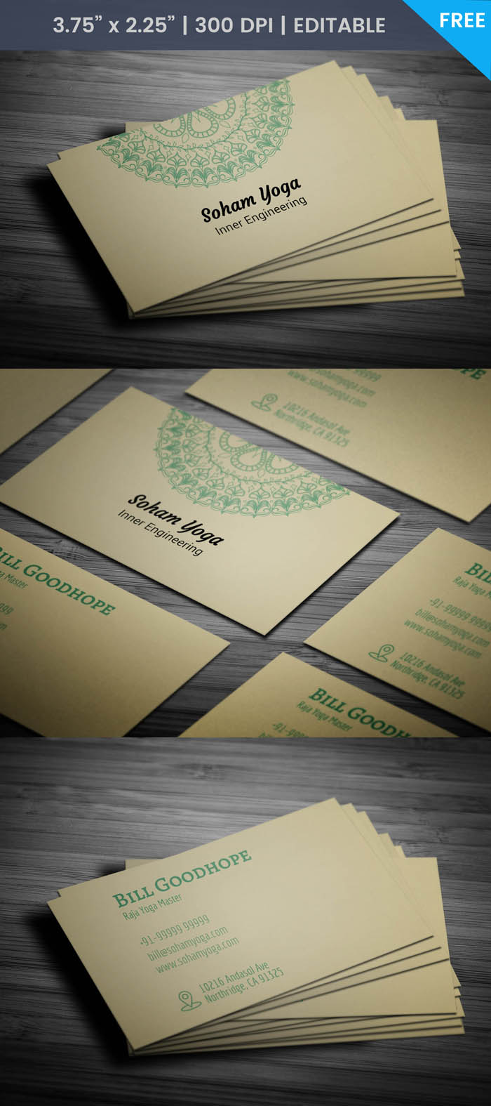 Yoga Mat Business Card - Full Preview