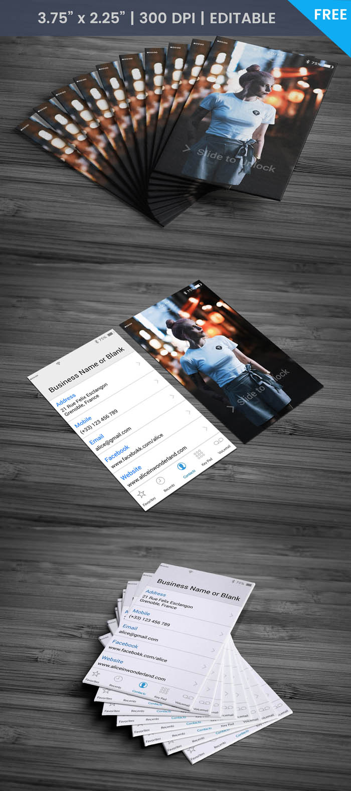 Free Iphone Contacts Theme Business Card Template
