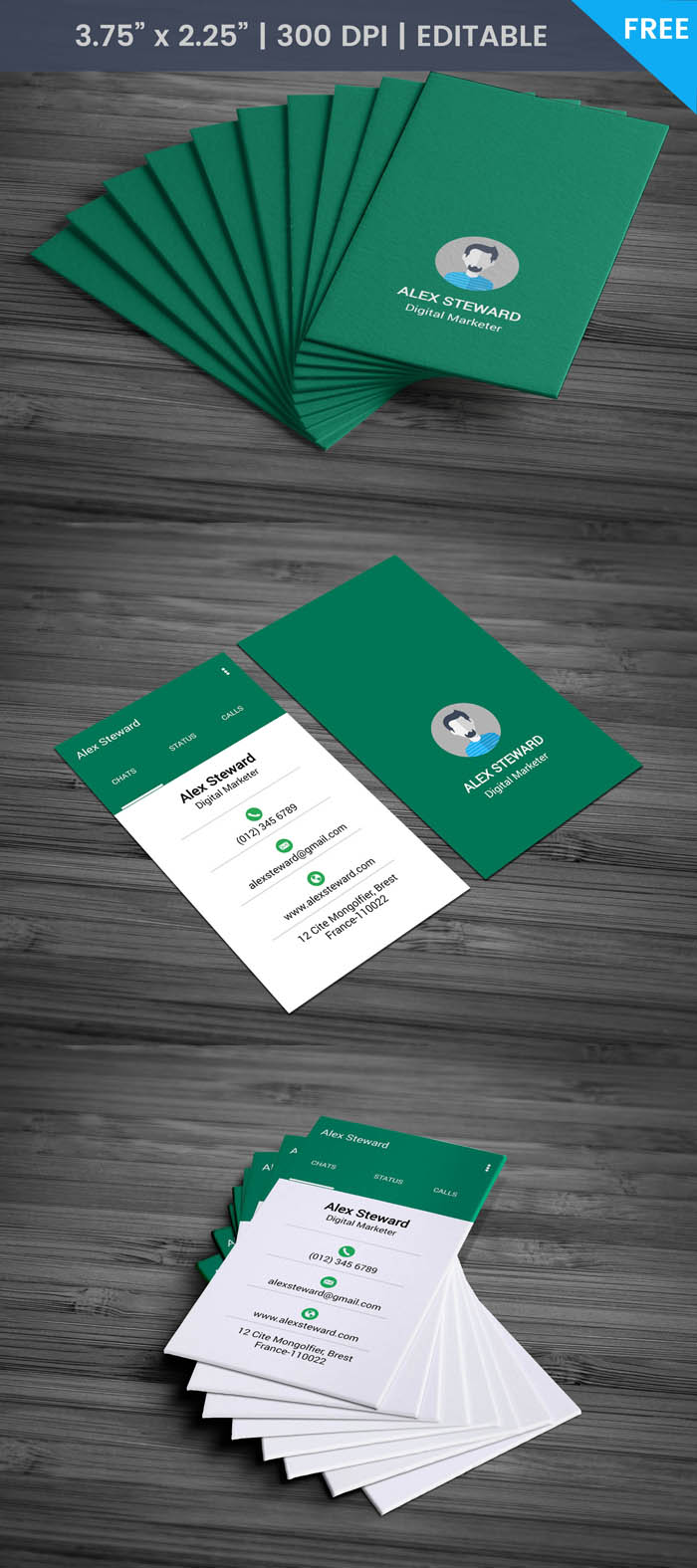 Free Whatsapp Themed Business Card Template