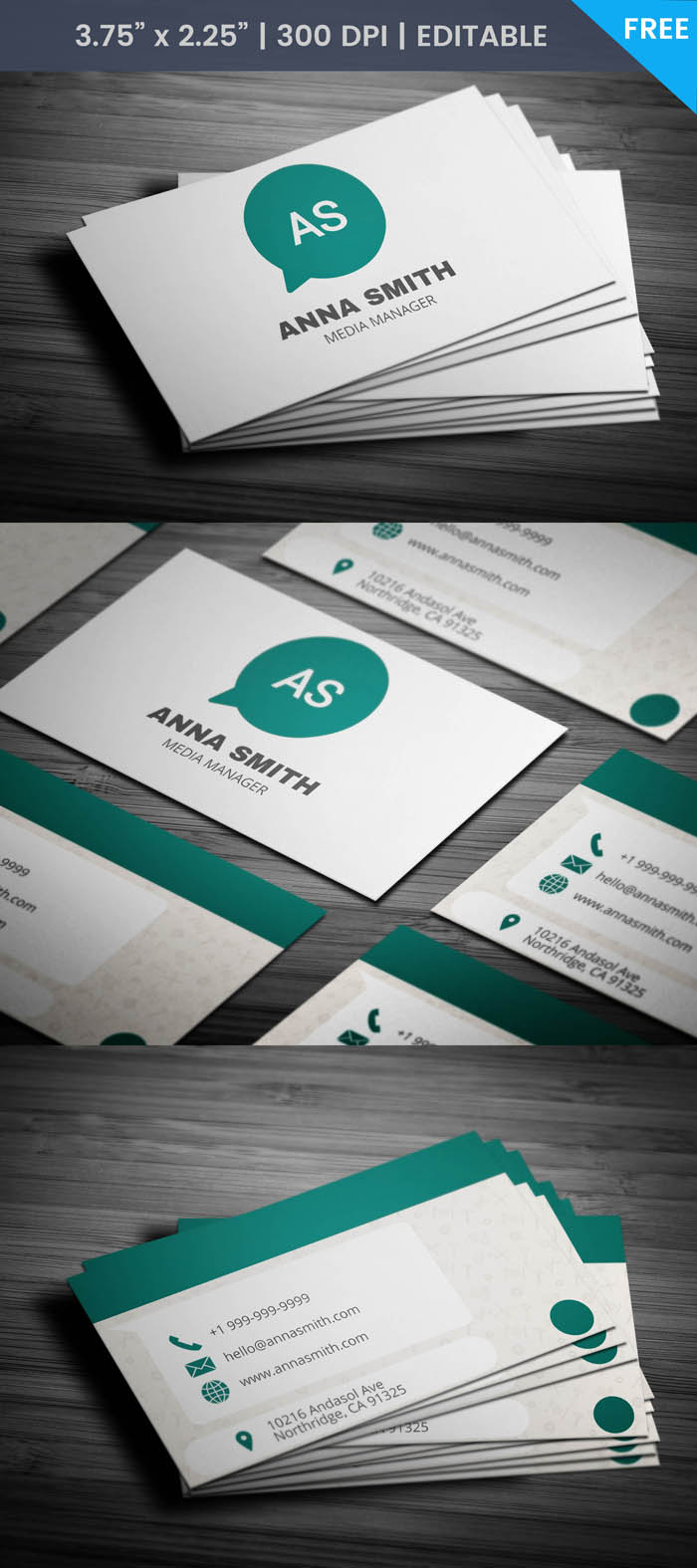 Free Modern Media Business Card Template