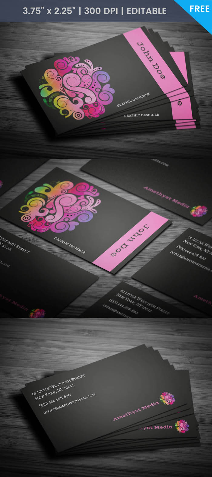 Free Purple Women Business Card Template