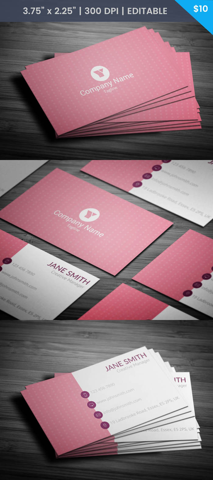 Pink Polka Dot Business Card Template