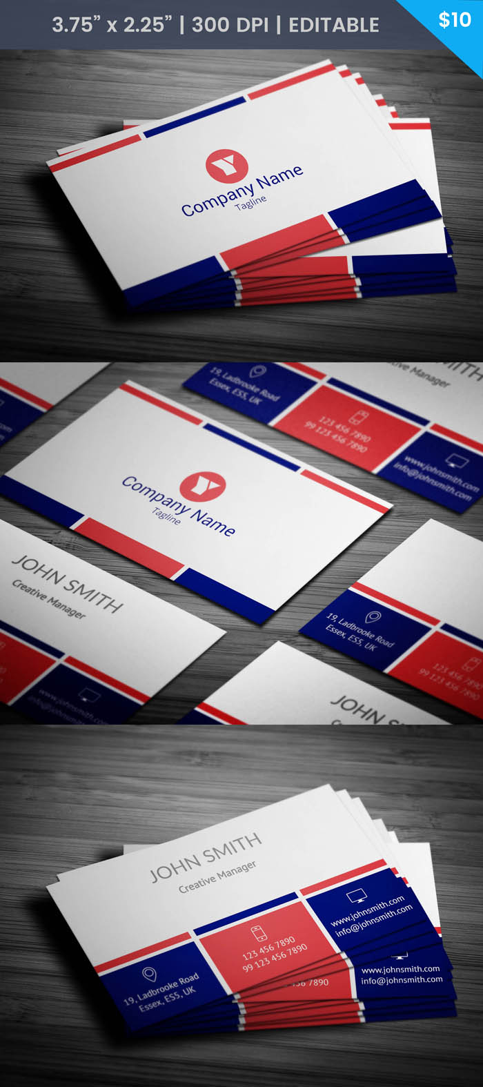 French Business Card Template