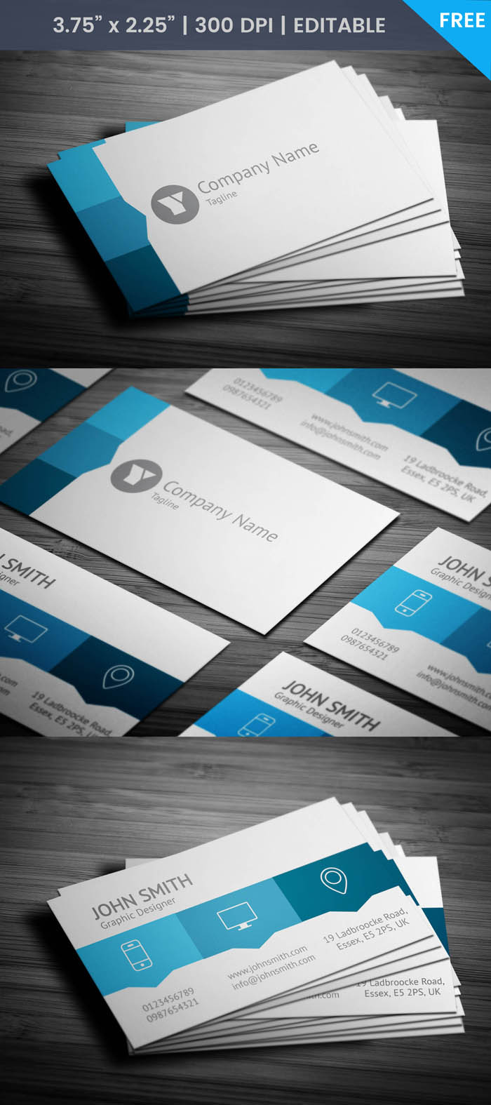 Free Blue Web Designer Business Card Template