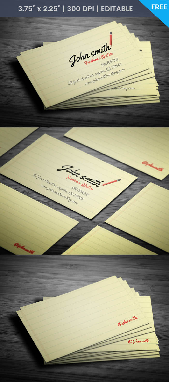 Free Freelance Writer Business Card Template