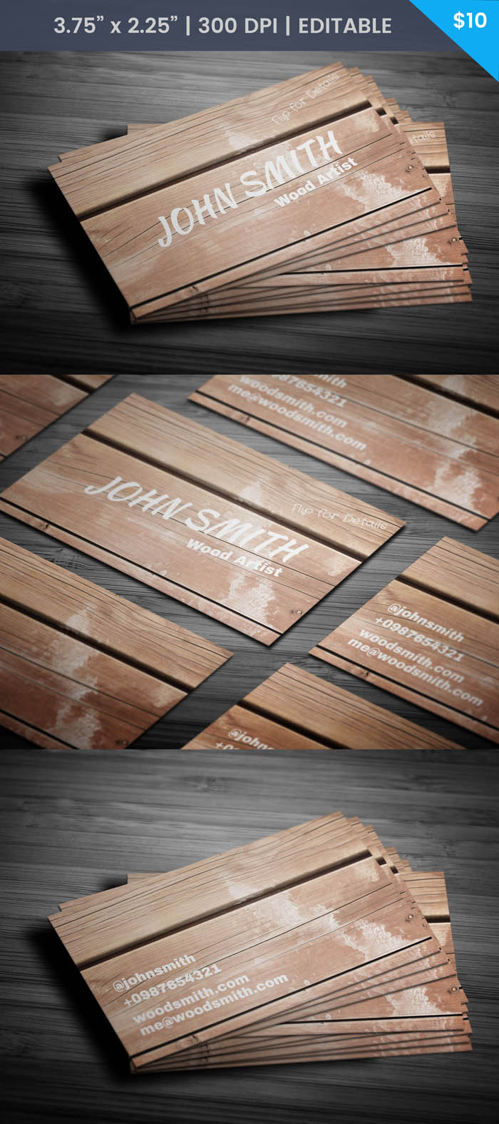 Free Wooden Texture Business Card Template