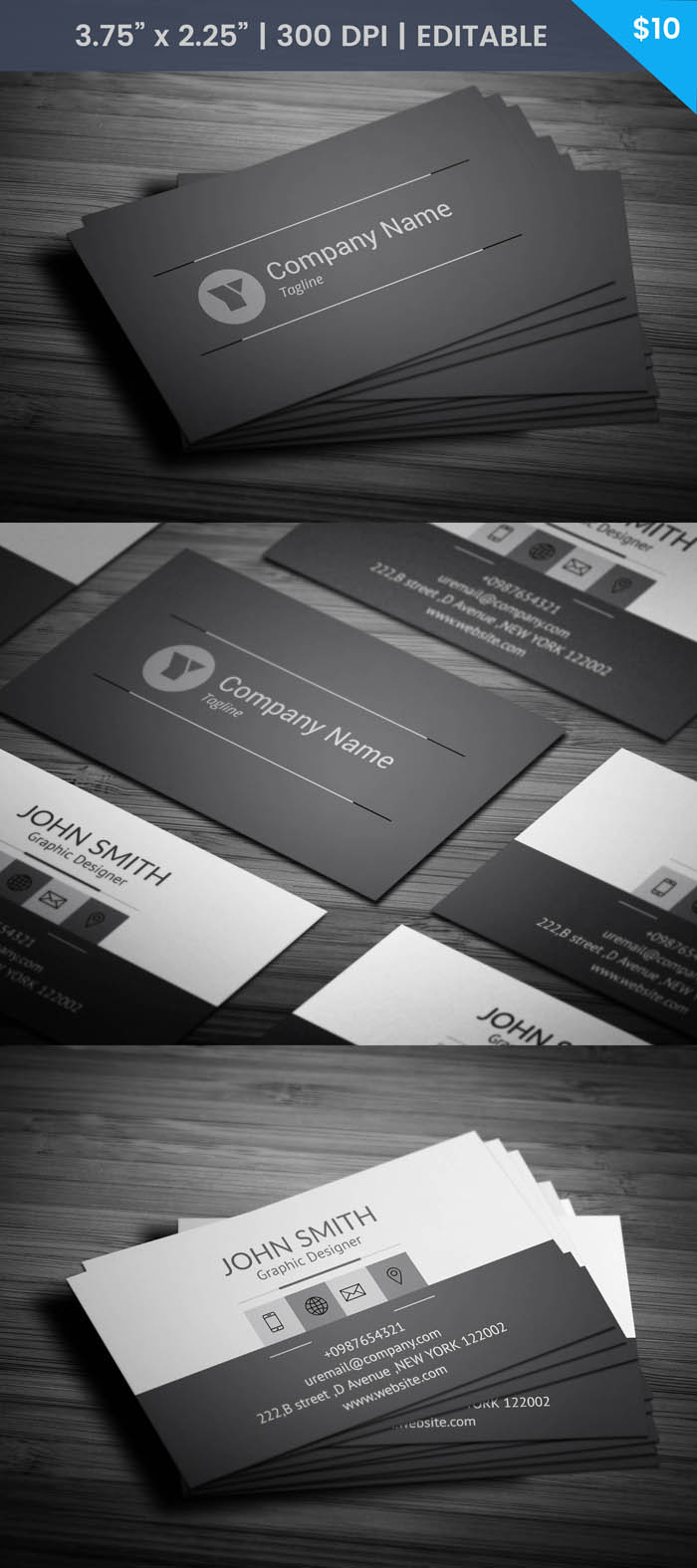 Free Charcoal Grey Business Card Template