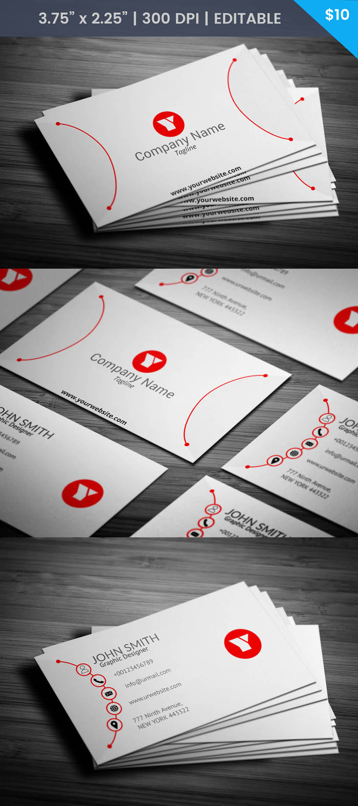 Free Red And White Designer Business Card Template