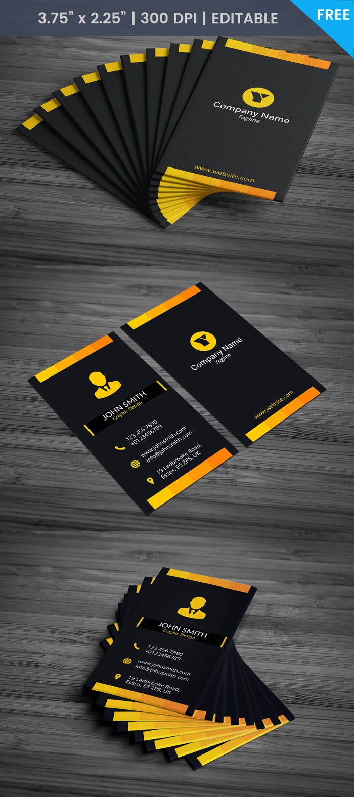 Free Black Portrait Business Card Template