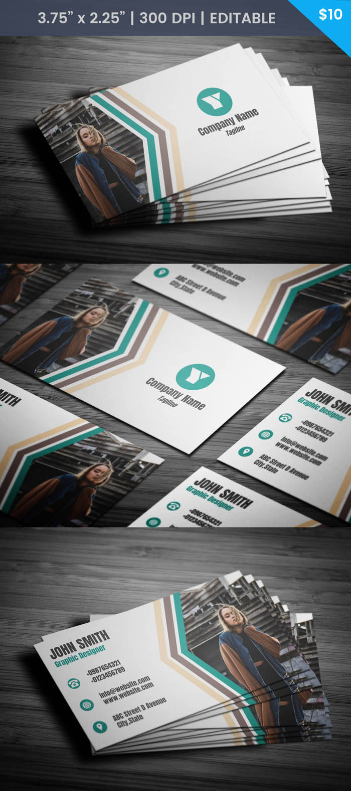 Free Model With Photo Business Card Template