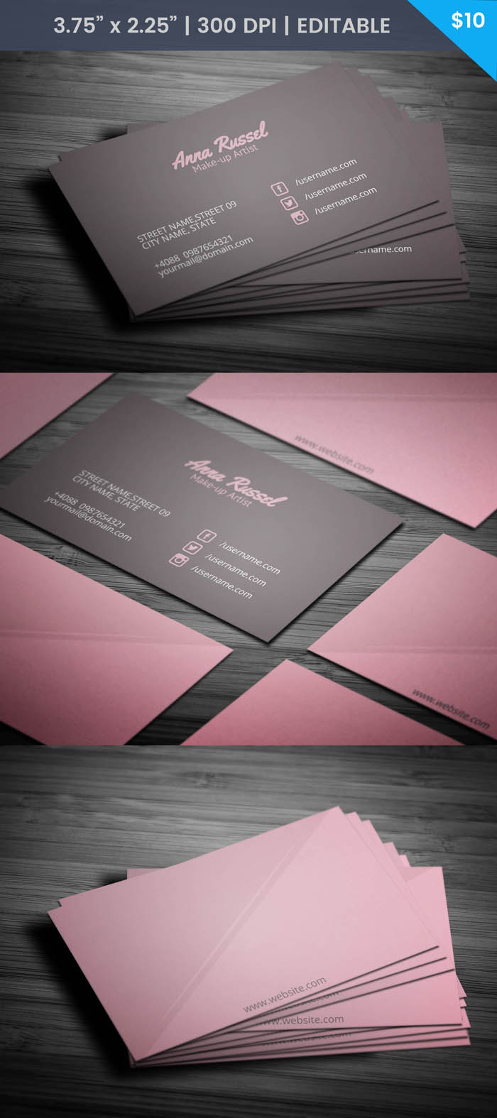 Free Pink Makeup Artist Business Card Template