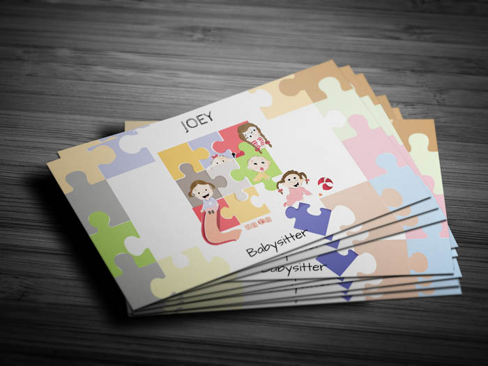 Cute Babysitter Business Card - Front