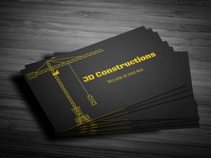 Building Construction Business Card - Front