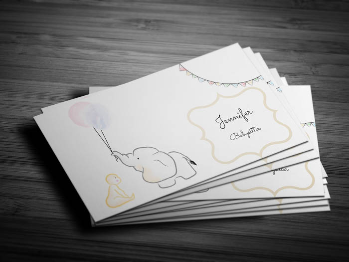 Balloons Teenage Babysitter Business Card - Front