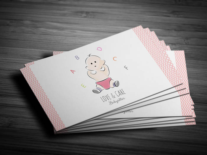 Super Cute Child Care Business Card - Front