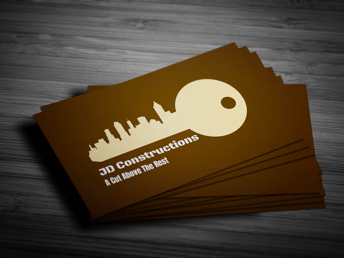 Unique Construction Business Card - Front