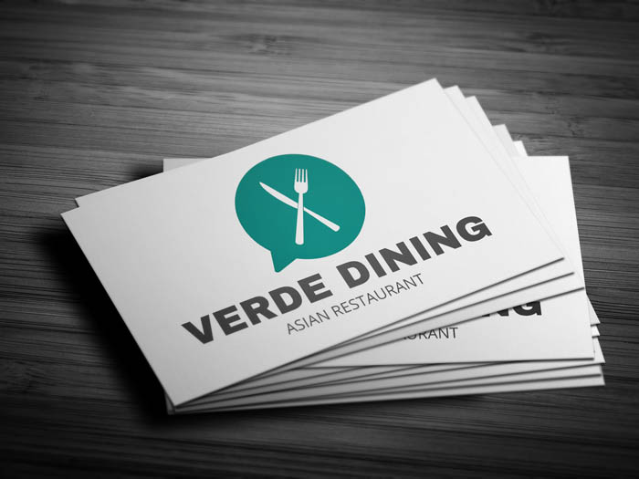 Whatsapp Themed Restaurant Business Card - Front