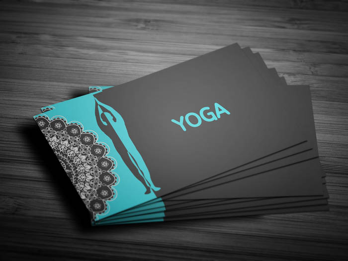 Free yoga teacher business card template yoga teacher business card front reheart Images