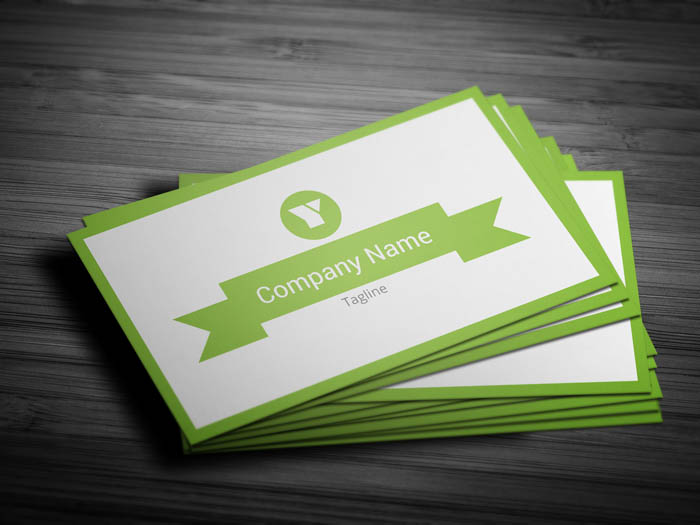 Minimal Green Business Card - Front