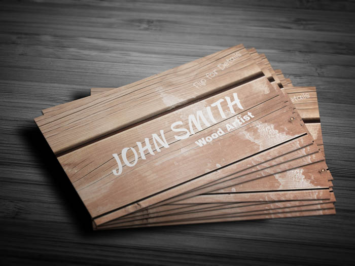 Wooden Texture Business Card - Front