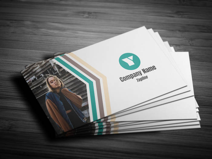 Model With Photo Business Card - Front