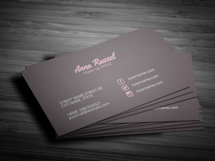Pink Makeup Artist Business Card - Front